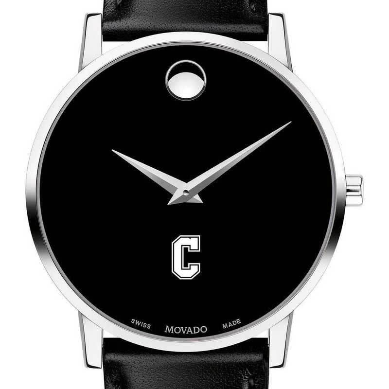 615789141280: College of Charleston Men's Movado Museum w/ Leather Strap
