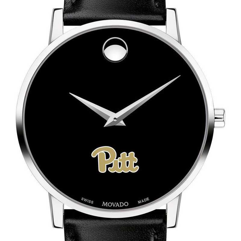 615789207177: Pitt Men's Movado Museum with Leather Strap