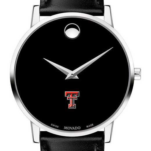 615789339069: Texas Tech Men's Movado Museum with Leather Strap