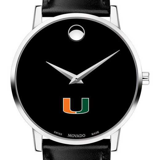 615789504955: University of Miami Men's Movado Museum with Leather Strap