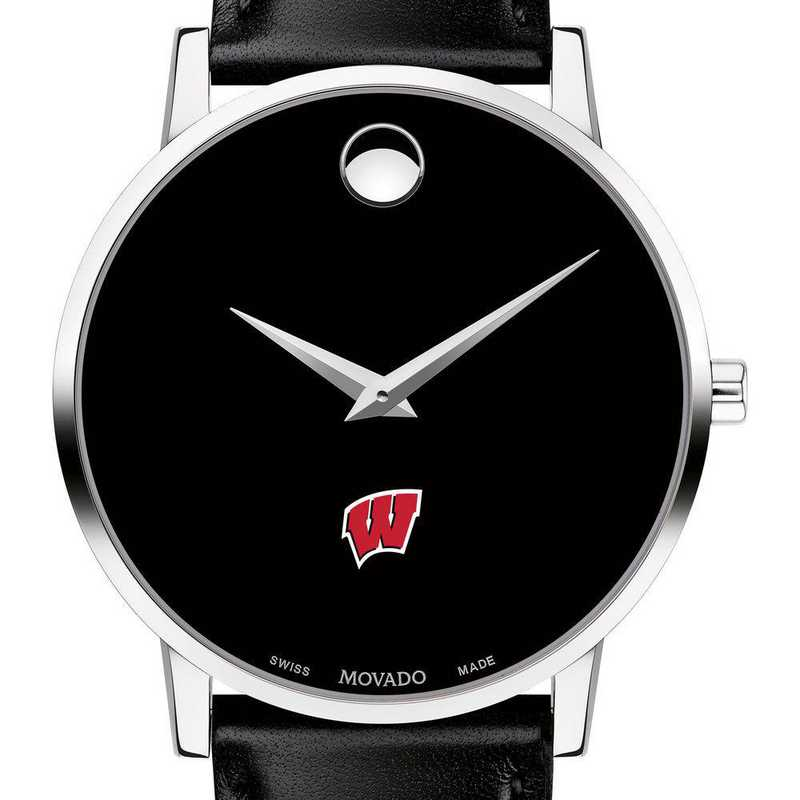 615789539957: Unive of Wisconsin Men's Movado Museum with Leather Strap