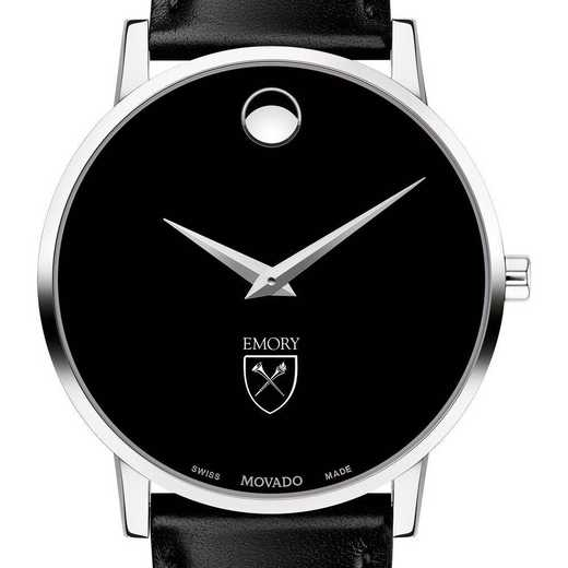 615789543893: Emory Univ Men's Movado Museum w/ Leather Strap
