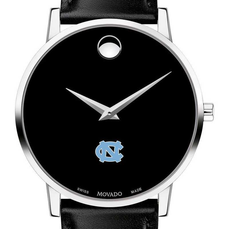 615789591870: U of North Carolina Men's Movado Museum with Leather Strap