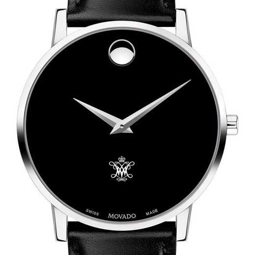615789616368: College ofWilliam&Mary Men's Movado Museum w/Lthr Strap