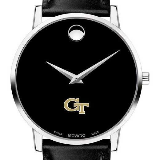 615789669982: Georgia Tech Men's Movado Museum w/ Leather Strap