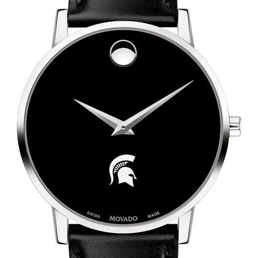 615789683483: Michigan State Univer Men's Movado Museum with Leather Strap