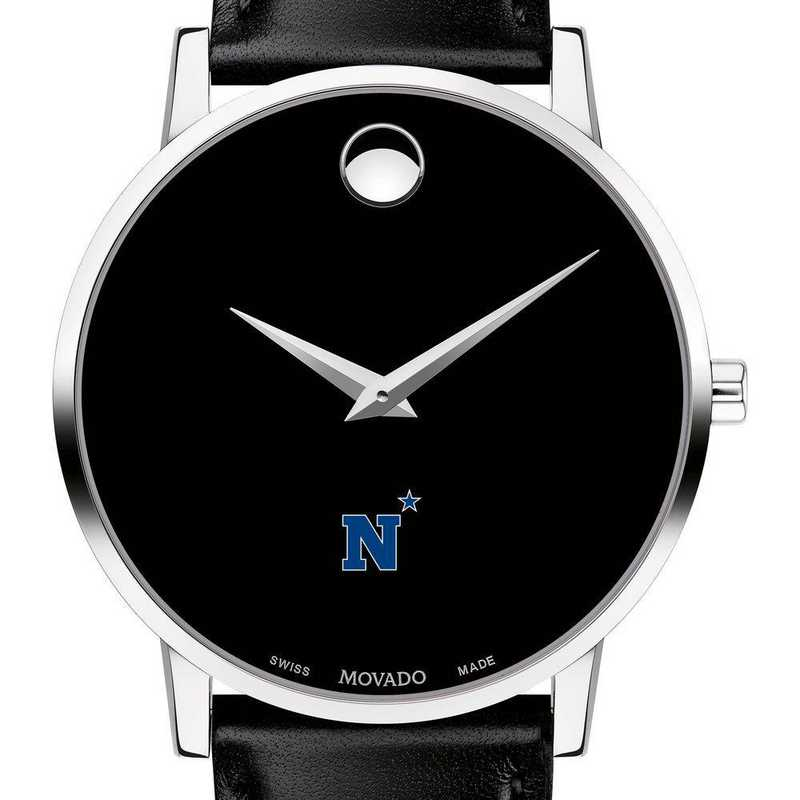 615789731771: US Naval Academy Men's Movado Museum with Leather Strap