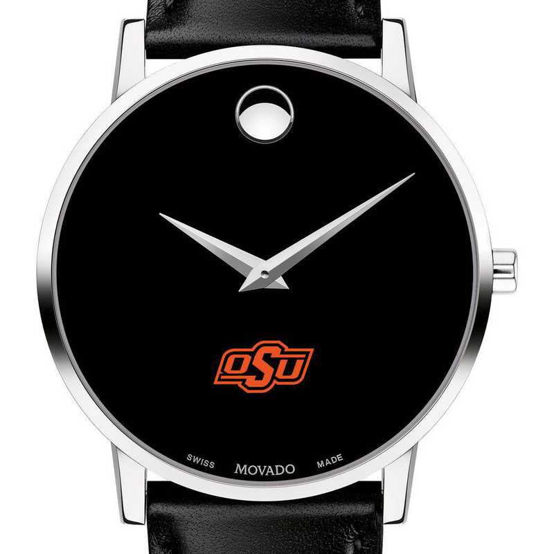 615789754589: Oklahoma State U Men's Movado Museum with Leather Strap