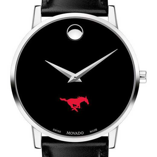615789766643: Southern Methodist Men's Movado Museum with Leather Strap
