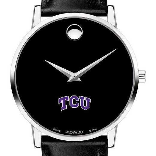 615789775409: Texas Christian Univer Men's Movado Museum w Leather Strap