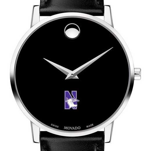 615789817277: Northwestern U Men's Movado Museum with Leather Strap