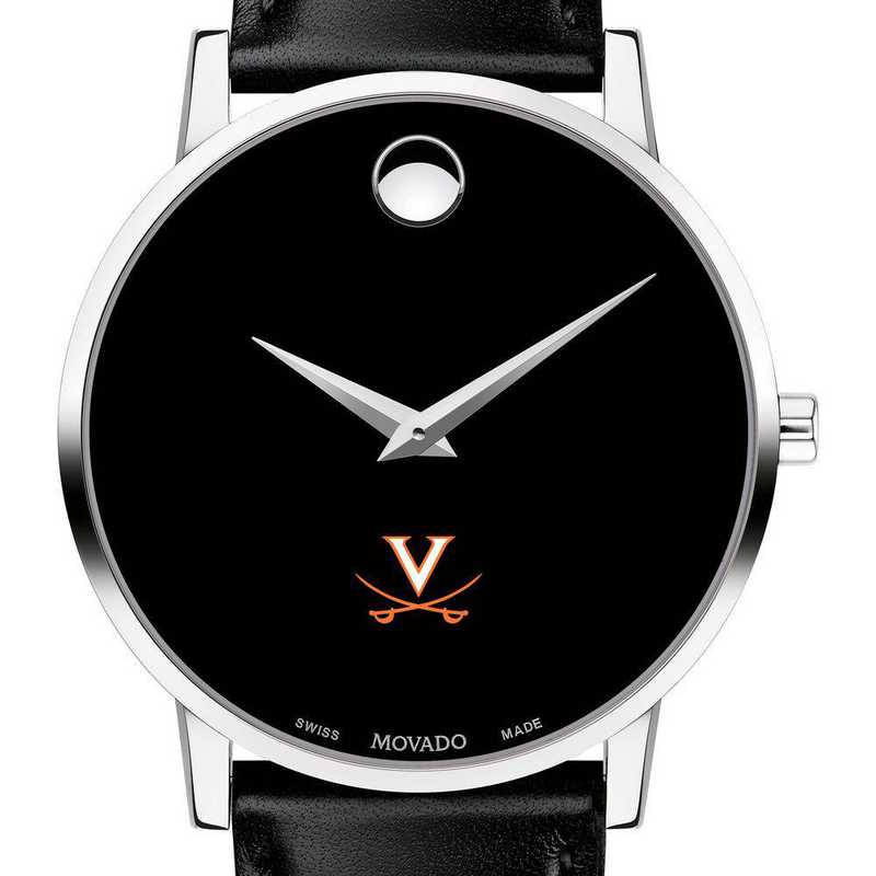 615789822639: Univ of Virginia Men's Movado Museum with Leather Strap