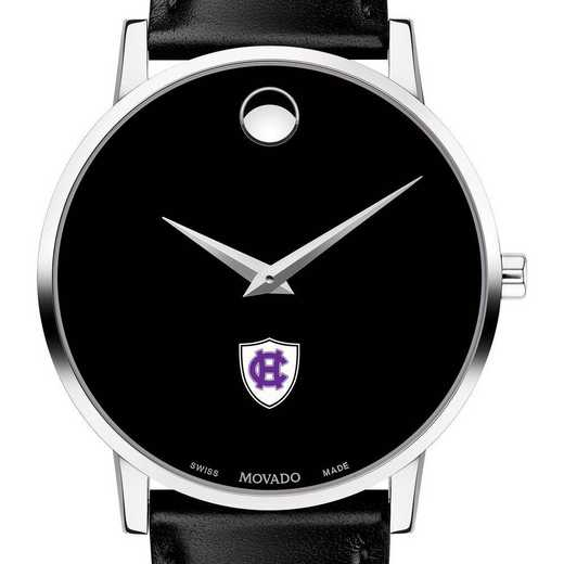 615789830245: Holy Cross Men's Movado Museum w/ Leather Strap