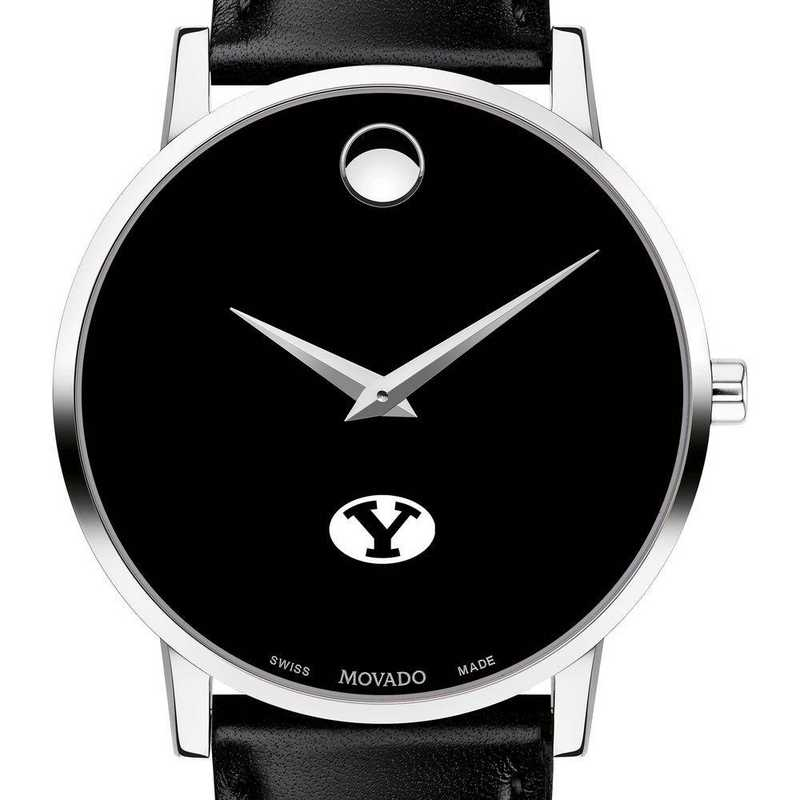 615789834502: Brigham Young Univ Men's Movado Museum w/ Leather Strap