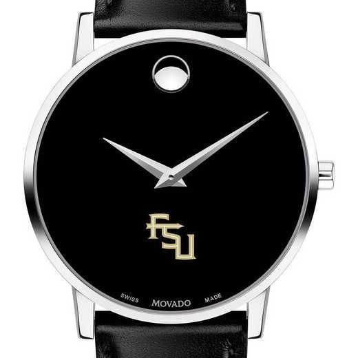 615789916345: Florida State Univ Men's Movado Museum w/ Leather Strap