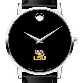 615789940210: Louisiana State Uni Men's Movado Museum with Leather Strap