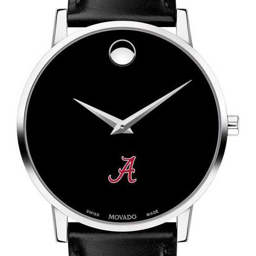 615789969204: Univ of Alabama Men's Movado Museum w/ Leather Strap