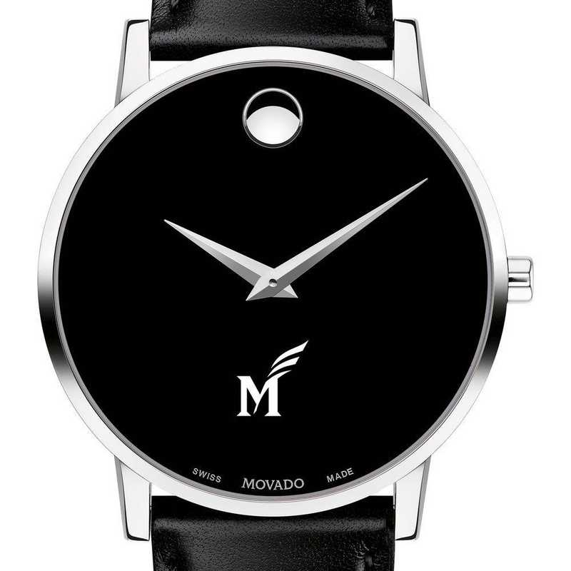 615789975458: George Mason Univ Men's Movado Museum w/ Leather Strap