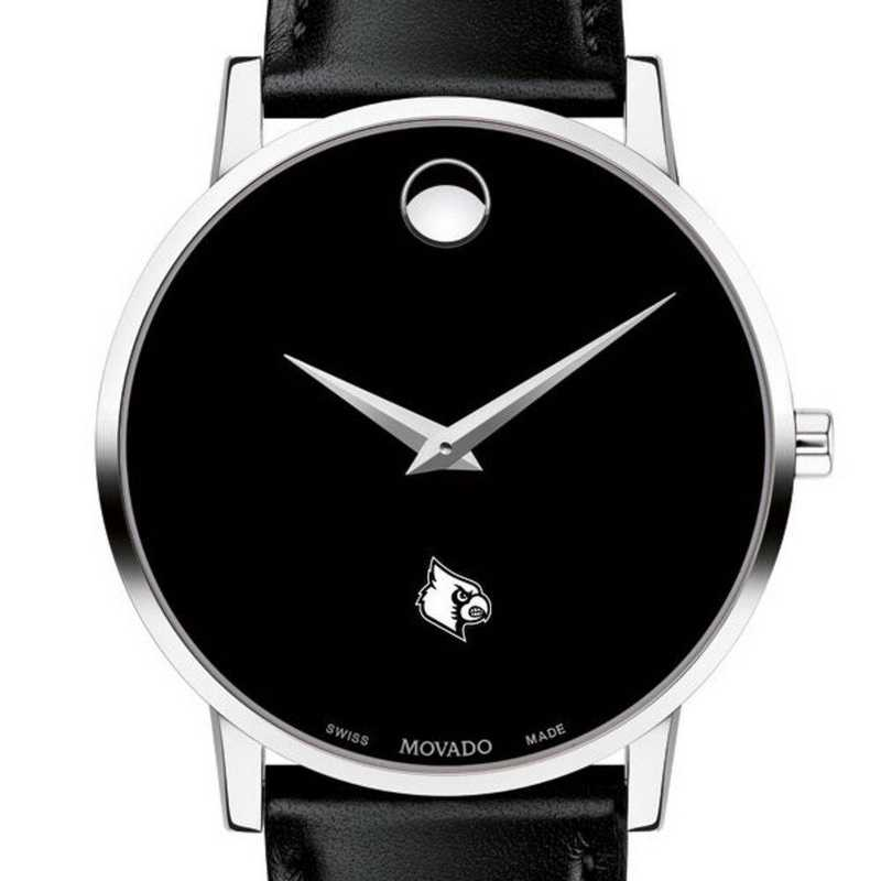 615789986119: Uni of Louisville Men's Movado Museum with Leather Strap