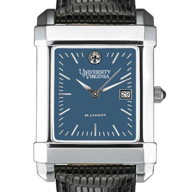 615789047834: UVA Men's Blue Quad Watch W/ Leather Strap