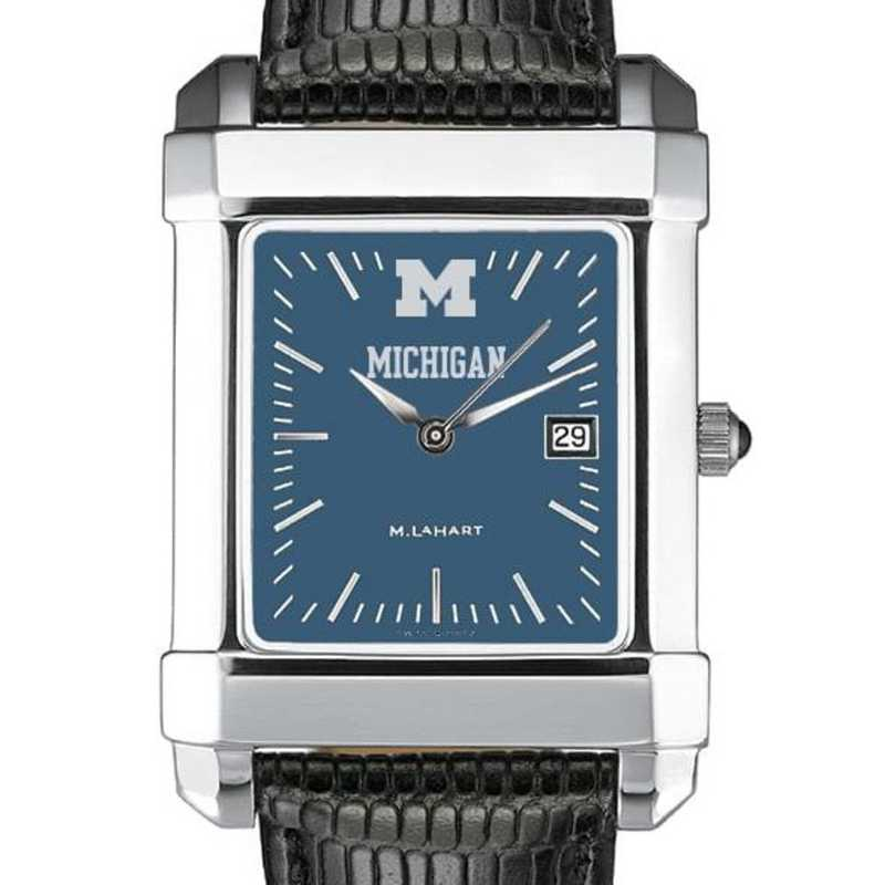615789083252: Michigan Men's Blue Quad Watch W/ Leather Strap