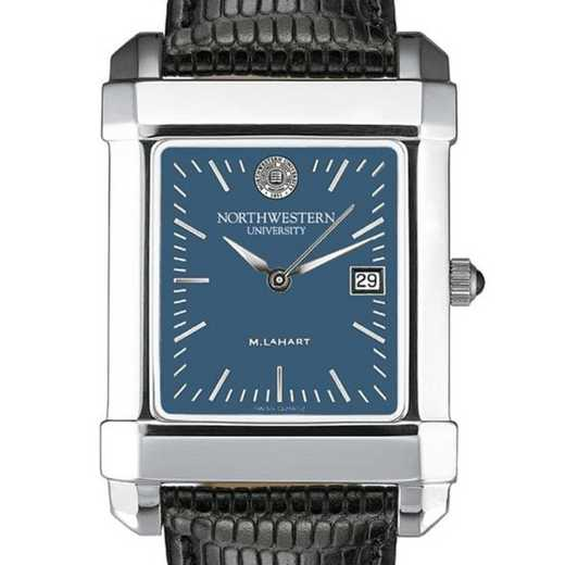 615789140931: Northwestern Men's Blue Quad Watch W/ Leather Strap