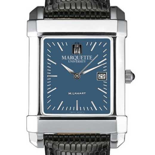 615789341161: Marquette Men's Blue Quad Watch W/ Leather Strap