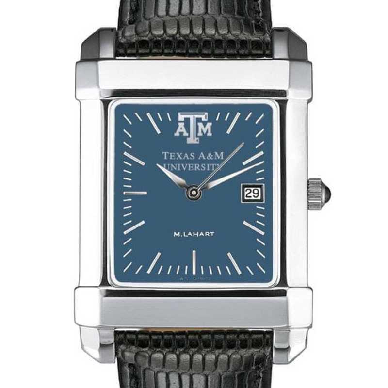 615789411017: Texas A&M Men's Blue Quad Watch W/ Leather Strap