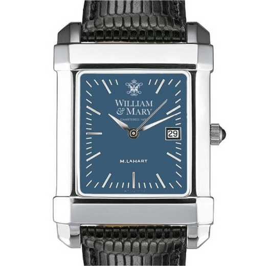 615789411253: William & Mary Men's Blue Quad Watch W/ Leather Strap