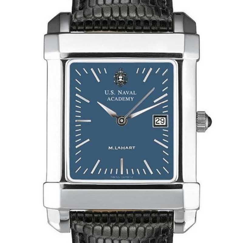 615789592587: USNA Men's Blue Quad Watch W/ Leather Strap