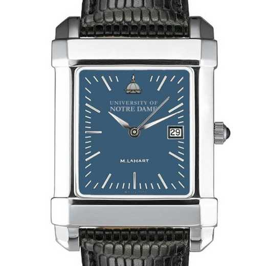 615789601968: Notre Dame Men's Blue Quad Watch W/ Leather Strap