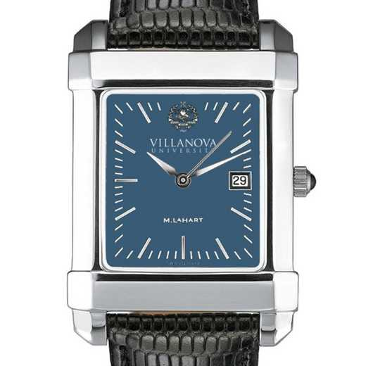 615789626374: Villanova Men's Blue Quad Watch W/ Leather Strap