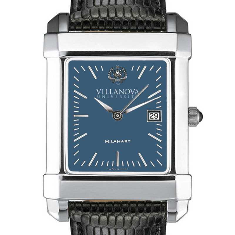 615789626374: Villanova Men's Blue Quad Watch W/ Leather Strap