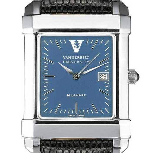 615789651772: Vanderbilt Men's Blue Quad Watch W/ Leather Strap