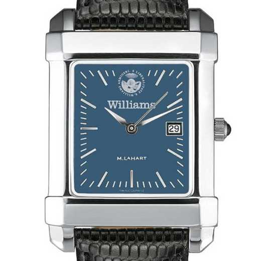 615789674191: Williams College Men's Blue Steel Quad with Leather Strap