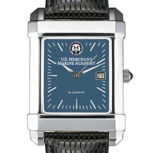 615789727262: USMMA Men's Blue Quad Watch W/ Leather Strap