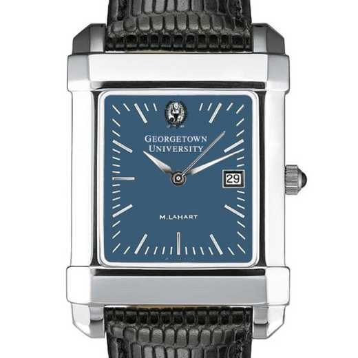 615789831938: Georgetown Men's Blue Quad Watch W/ Leather Strap