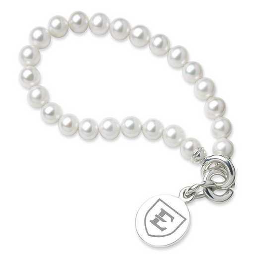 615789063919: East Tennessee ST UNIV Pearl Bracelet W/ SS Charm