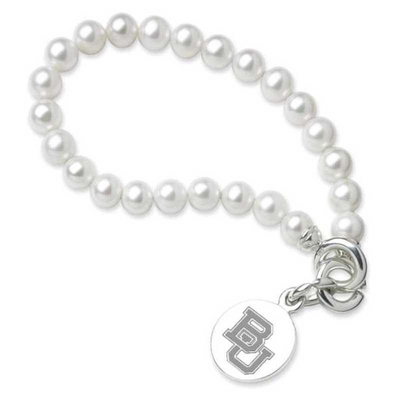 615789067382: Baylor Pearl Bracelet W/ SS Charm