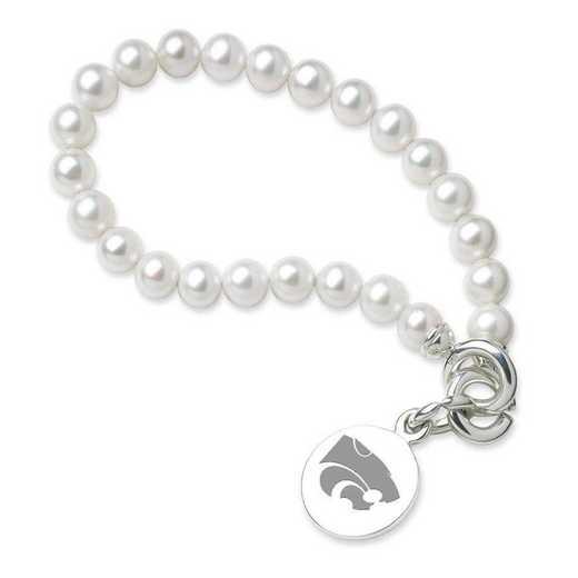 615789107576: Kansas ST UNIV Pearl Bracelet W/ SS Charm