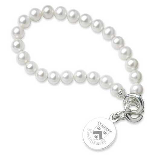 615789136323: Columbia Pearl Bracelet W/ SS Charm