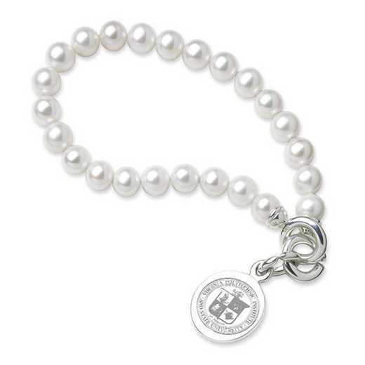 615789340058: Virginia Tech Pearl Bracelet W/ SS Charm