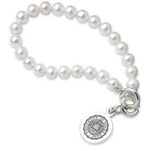 615789340072: Notre Dame Pearl Bracelet W/ SS Charm