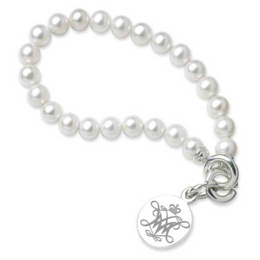 615789541134: William & Mary Pearl Bracelet W/ SS Charm