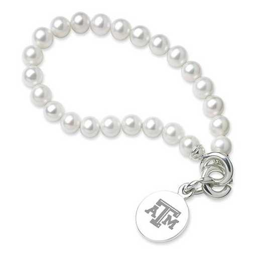 615789546078: Texas A&M Pearl Bracelet W/ SS Charm