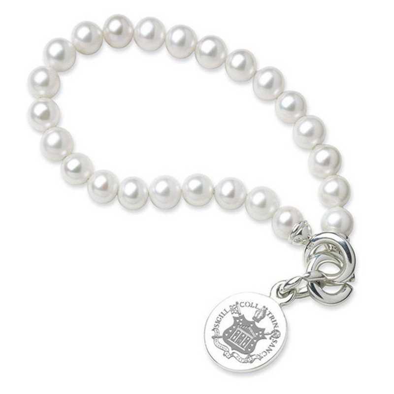 615789575900: Trinity College Pearl Bracelet W/ SS Charm