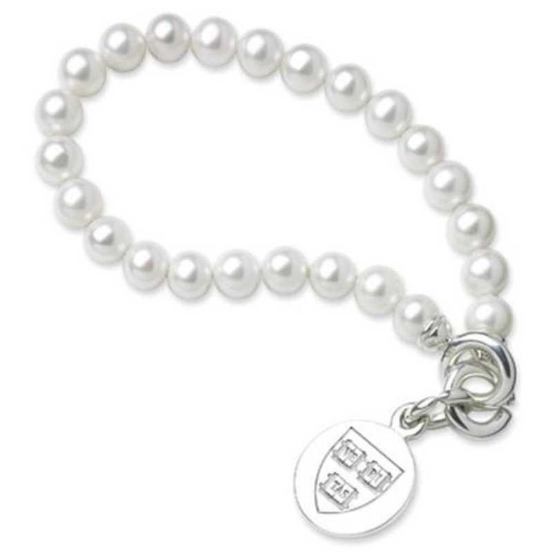 615789701484: Harvard Pearl Bracelet W/ SS Charm