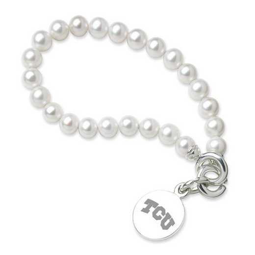 615789737476: TCU Pearl Bracelet W/ Sterling Charm