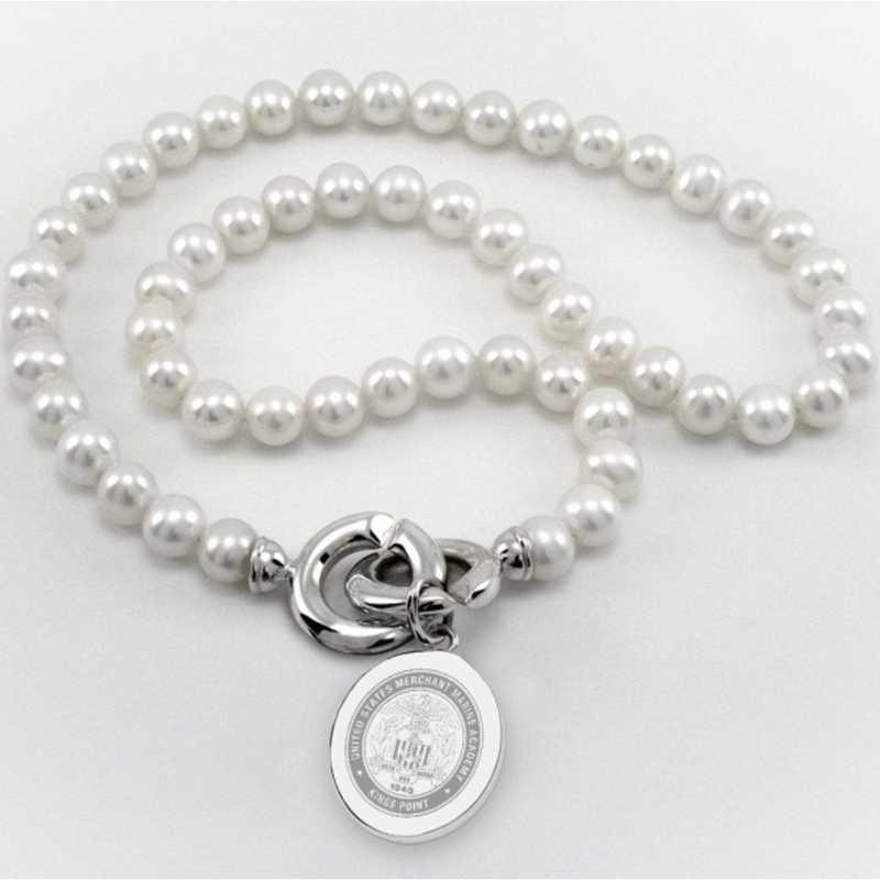 615789086925: Merchant Marine Academy Pearl Necklace W/ SS Charm
