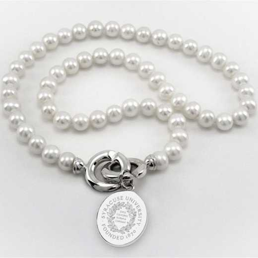 615789109983: Syracuse UNIV Pearl Necklace W/ SS Charm